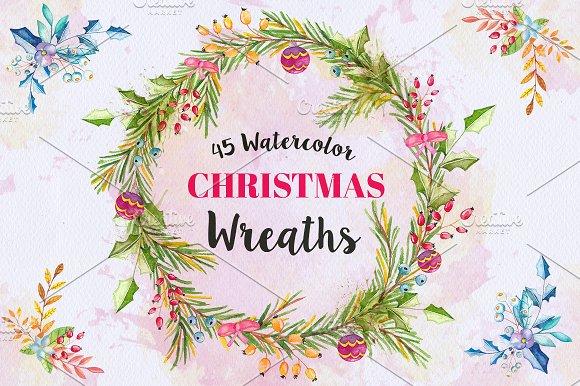 Watercolor Christmas Wreaths Bundle Illustrations Creative Market