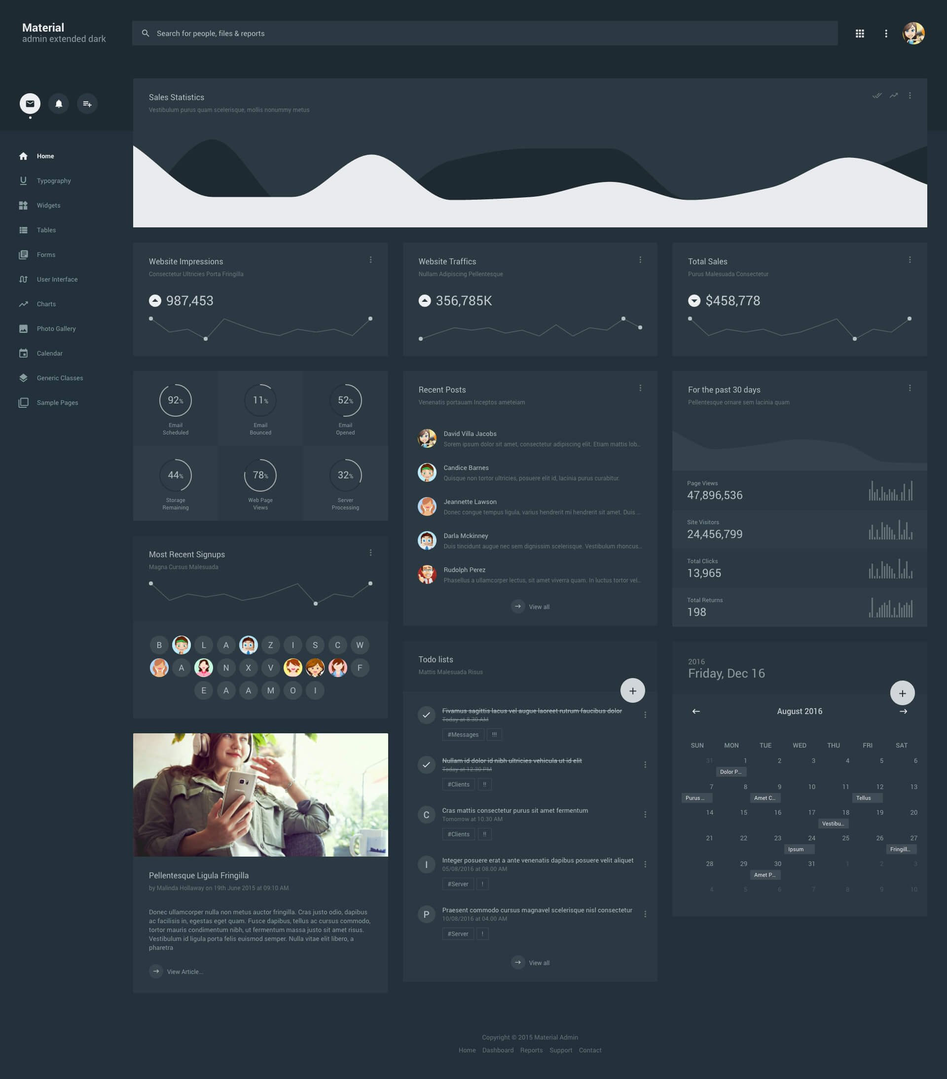 Admin dashboard template photos graphics fonts themes material admin extended dark alramifo Gallery
