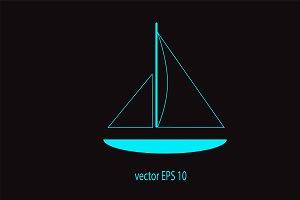 Yacht icon neon color vector