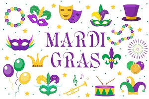 Collection of Mardi Gras carnival