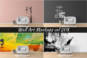 Wall Mockup - Sticker Mockup Vol 208