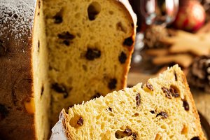 Traditional Christmas panettone with dried fruits