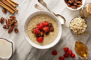 Homemade oatmeal for breakfast
