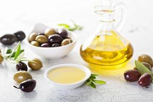 Olive oil in vintage bottles