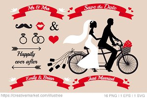 Wedding tandem bicycle, vector