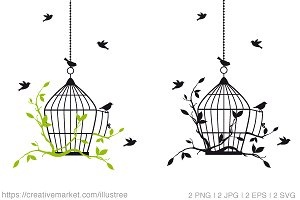 Birdcage with birds, vector