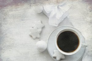 Cup of coffee whis biscuit star