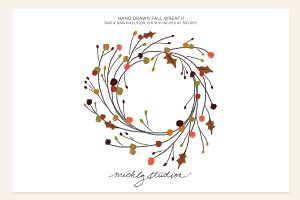Hand Drawn Fall Wreath