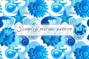 Marine background. Watercolor shell