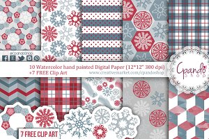Blue and Red Christmas snowflakes