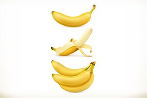 Banana. Sweet fruit. 3d vector