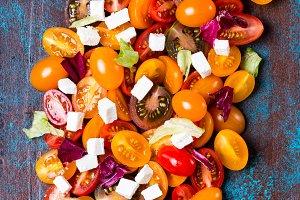 Tomato salad on board