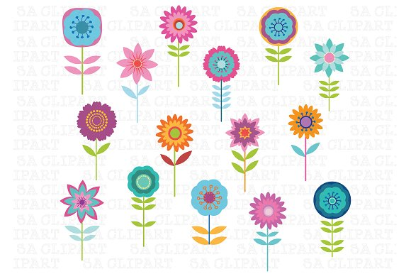 cute flower clipart  illustrations on creative market, Beautiful flower