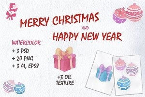 Merry Christmas Watercolors set