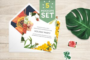 Card + Envelope 5 Mockups Set