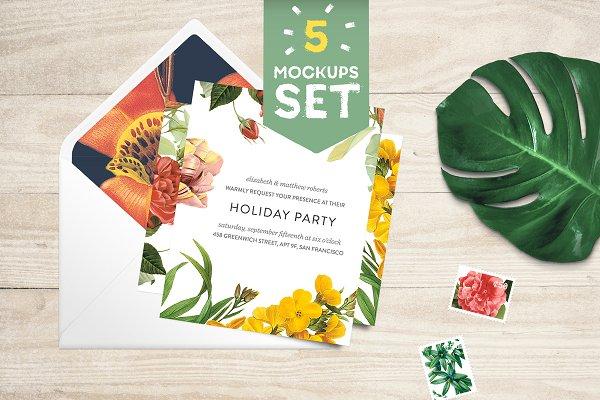 Card + Envelope 5 Mockups Set