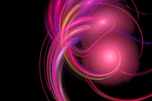 Red purple curves and balls abstract background