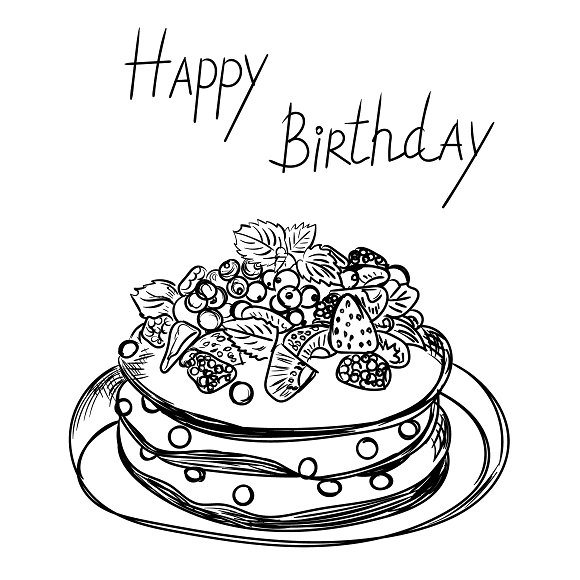 Birthday cake in sketch style illustrations creative market birthday cake in sketch style illustrations sciox Image collections