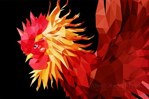 Fire Rooster Year - Polygon | Vector