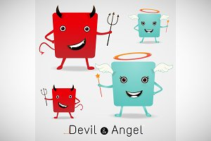 red devil and cute angel