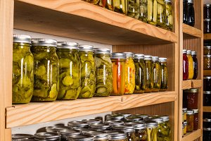Pickles on pantry shelf