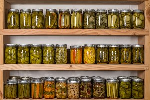 Pantry shelves with pickles