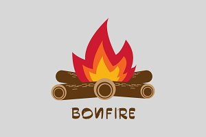 Bonfire with firewood