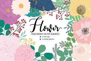 HAND DRAWN VECTOR Flower DIY Pack