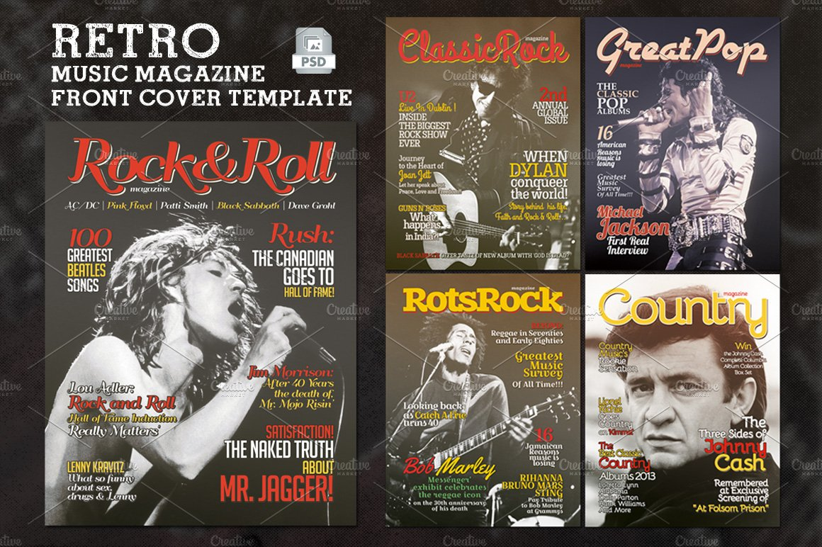 Retro Music Magazine Front Cover ~ Magazine Templates ~ Creative Market