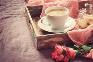 Rose, coffee and cookies
