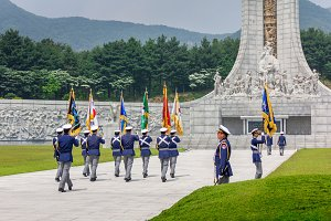 Ceremony of respect at Memorial Tower (Hyeonchungtap). Daejeon National Cemetery, South Korea, 25 may 2016