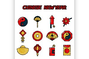 Chinese New Year flat icon set