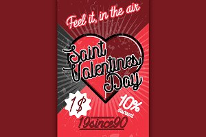 Color vintage Valentines day poster