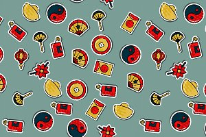 Colored Chinese New Year pattern