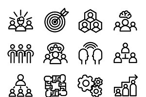 Modern thin line teamwork icons