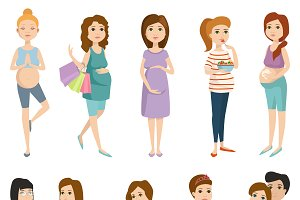 Pregnant girl vector set