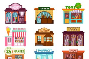 Vector shops facade icons