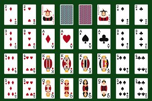 Poker cards vector set