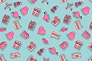 Valentines Day colored pattern