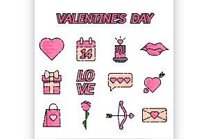 Valentines Day flat icons set