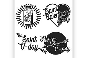 Vintage Valentines day emblems