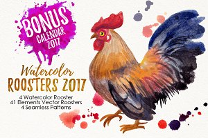 watercolor roosters family & 2017