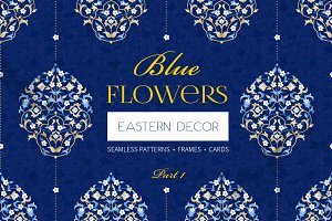 1.Kit Of Eastern Decor. Blue Flowers