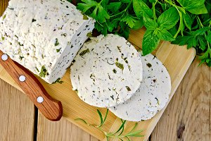 Cheese homemade with herbs