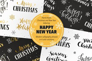 Christmas and New Year phrases set