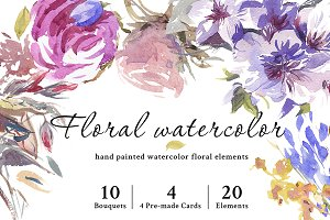 Floral Watercolor Graphic Set