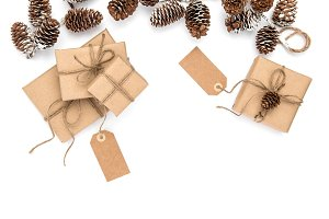 Christmas gifts wrapped craft paper