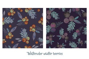 Two watercolor seamless pattern.
