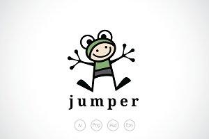 Kid Frog Mascot Logo Template