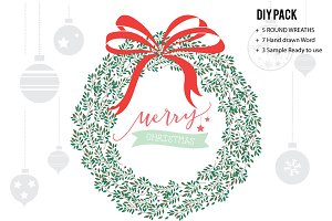 Christmas Wreaths Vector AND DIY
